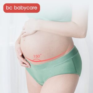 BC Babycare Soft Cotton Breathable V-Shaped Low Waist Maternity Underwear Panties Stretch Belly Support Women Solid Underpants