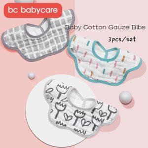 BC Babycare 3pcs Baby Bibs 360° Rotation Cotton Gauze Breathable Soft Absorbent Kids Burp Cloth Floral Shape Infant Saliva Towel