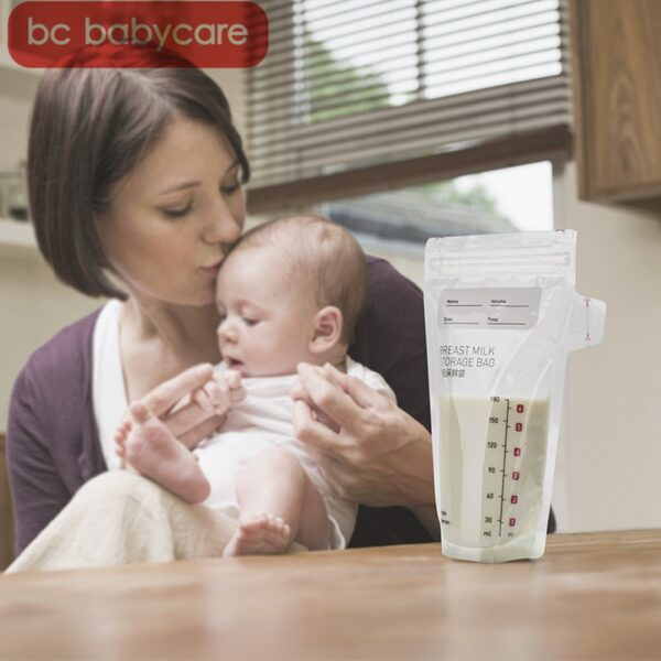 BC Babycare 50pcs/bag Breast Milk Freezer Bags 180ml Disposable Practical Convenient Markable Baby Food Storage Bag 6oz BPA Free