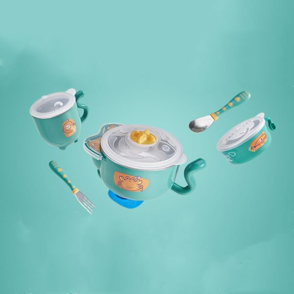 BC Babycare 6pcs Baby Stainless Steel Thermal Food Feeding Bowl Set With Silicone Spoon Fork Toddler Cup Insulated Sucker Plate