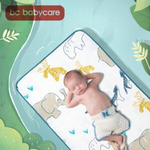 BC Babycare 56*100/65*120cm Multipurpose Baby Sheets Cartoon Soft Breathable Antibacterial Anti-mite Portable Ramie Bed Sofa Mat