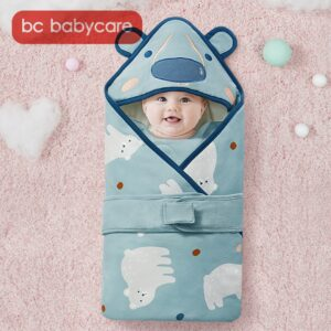 BC Babycare Animals Bear Hooded Swaddle Blanket Baby Winter Shoulder Guard Windproof Cotton Soft Wrap Sleeping Bag Newborns 0-3Y