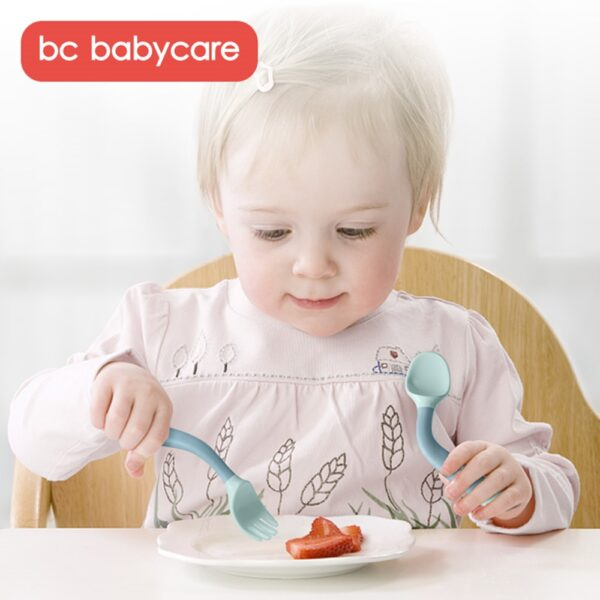 BC Babycare 2Pcs Travel Bendable Baby Spoon Fork Set Easy Grip Heat-Resistant Toddler Infant Training Tableware with Storage Box