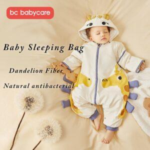 BC Babycare Cotton Winter Warm Sleeping Bags Cartoon Pattern Children Split Leg Swaddle Toddler Detachable Sleeve Baby Clothes