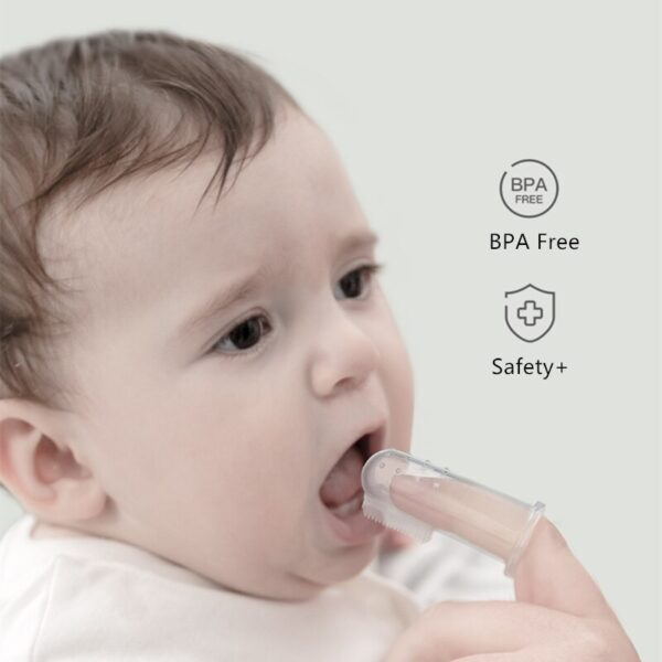 BC Babycare Baby Silicone Finger Toothbrush+Box Infant Oral Massager Teether Food Grade Silicone Nano Silver Soft Cleaner Brush