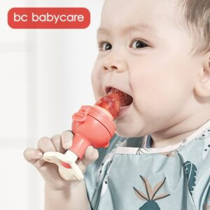 BC Babycare Infant Vegetable Fruit Nibbler Feeder Spiral Propelled Baby Silicone Pacifier 2pcs Safe Nipple Teether S M BPA Free