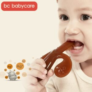 BC Babycare High Quality Silicone Safe Baby Training Toothbrush Easy Clear Soft Deformable Banana Baby Teether