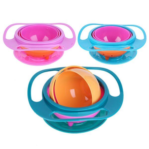 Baby Bowl Universal Gyro Bowl Practical Design Children 360 Degrees Rotate Balance Gyro Umbrella Bowl Spill-Proof Bowl Tableware